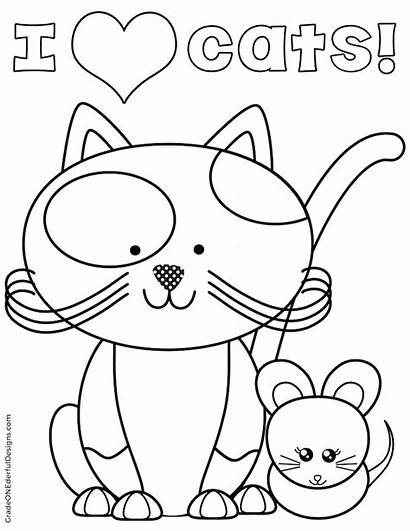 Coloring Cat Mouse Pages Toy Kitty Clipart