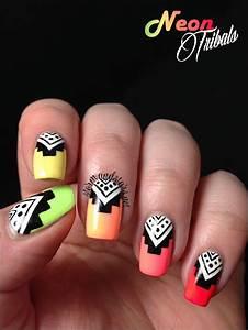 Neon Tribal Nail Art | ネイル | Pinterest | ネイル