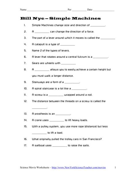 work and simple machines worksheet answers worksheets for