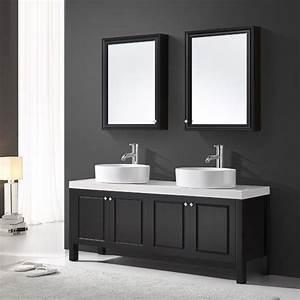 Meuble De Salle De Bain Double Vasque : meuble de salle sanitaire 160 cm noir double vasque ~ Teatrodelosmanantiales.com Idées de Décoration