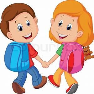 Cartoon Boy and girl with backpacks | Stock Vector | Colourbox