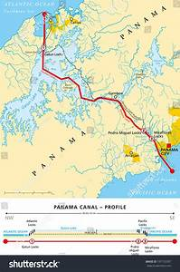 Panama Canal Political Map With Cross