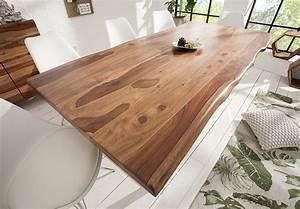 Massiver Baumstamm Tisch MAMMUT 200cm Sheesham 4cm