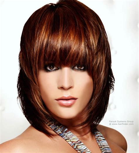 Modern neck length hairstyle with forward jutting layers