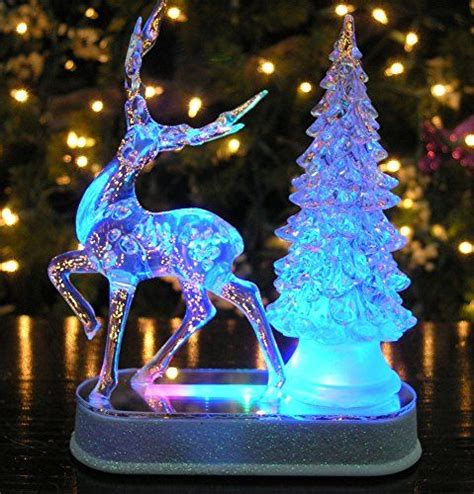 table top christmas tree in pleiglass with falling snow reindeer and tree color changing acrylic table top decoration led