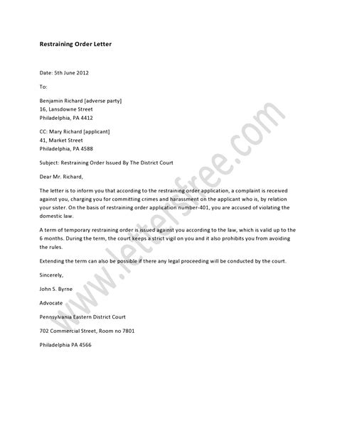restraining order letter order letter sample order