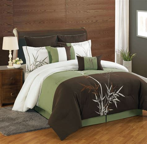 8 piece queen bamboo embroidered comforter set