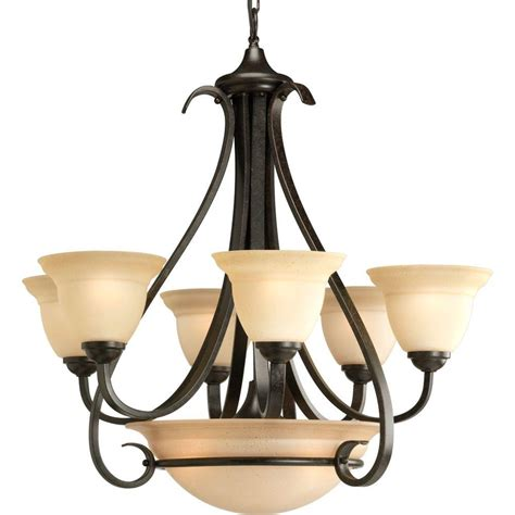 6 Light Chandelier With Shades by Progress Lighting Torino 6 Light Forged Bronze Chandelier
