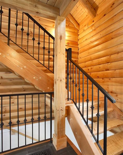 log cabin stairs staircase traditional