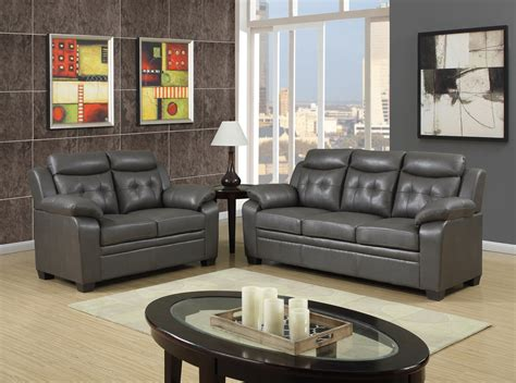 Contemporary Leather Sofa Sets by Grey Apartment Size Casual Contemporary Bonded Leather