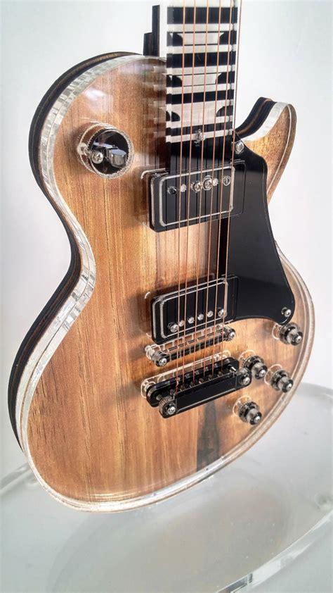miniature guitar gibson les paul acrylic glass guitar hand