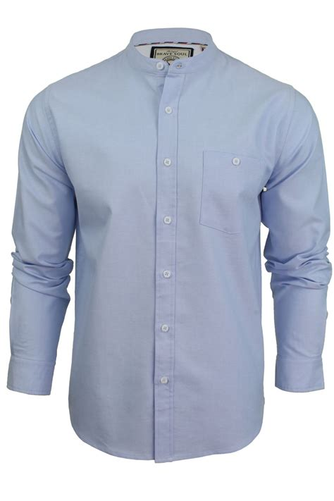 brave soul mens grandad collar oxford shirt augustus