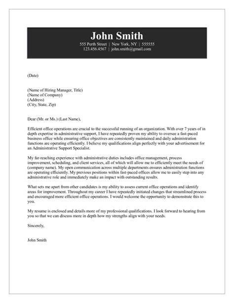 Cover Letter For Support Assistant by Administrative Support Cover Letter