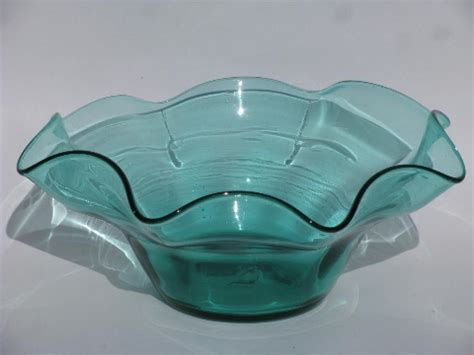 Retro 60s  70s vintage hand blown art glass bowl, aqua