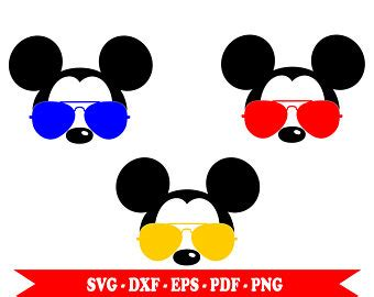 Download icons in all formats or edit them for your designs. Mickey Mouse with sunglasses Aviator svg shape clip art in ...