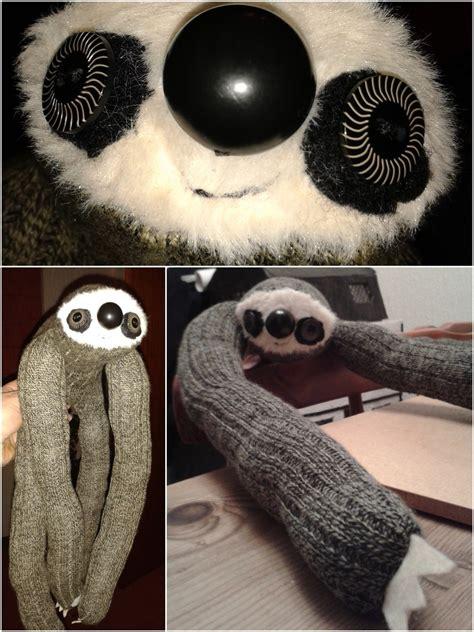 sock sloth  sloth plushie sewing  cut