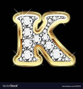 Letter k gold and diamond Royalty Free Vector Image
