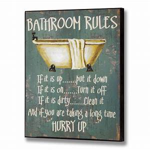 Bathroom rules wall plaque for Wall plaques for bathroom