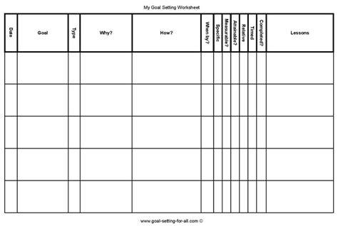personal goal setting worksheets printable