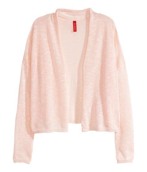 light pink cardigan lyst h m knit cardigan in pink