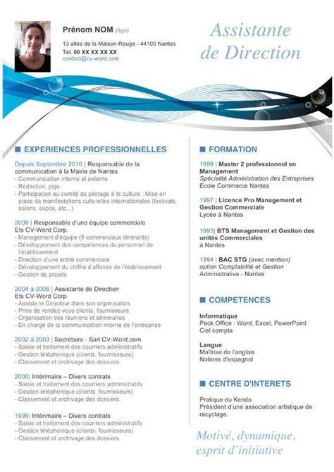 Exemple De Mise En Page Cv by Modele Cv Commercial Word Mise En Page Cv Word Gratuit