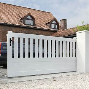 Leroy Merlin Portail : portail coulissant pvc plescop blanc naterial x h ~ Nature-et-papiers.com Idées de Décoration