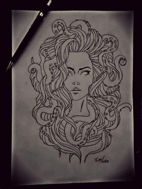 medusa octopus drawing art octopus drawing drawings