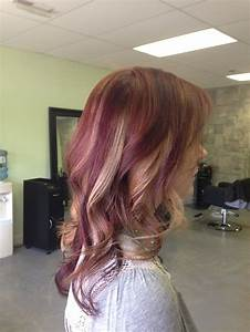 Mahogany red with caramel and dark red violet highlights ...