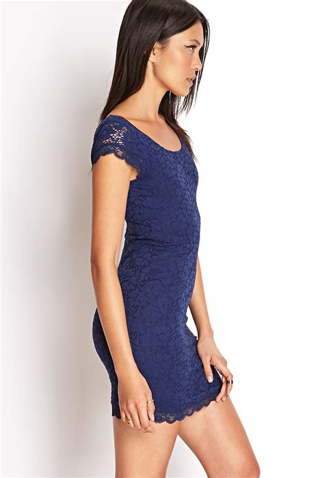 strappy lace mini dress lyst forever 21 crochet lace bodycon dress you 39 ve been