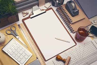 Desk Mockup Architect Office Sketch Background Engineer