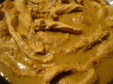 eminces de poulet au lait de coco et a la pate curry
