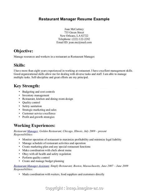 Server Resume Skills by Make Resume For Server In Restaurant Restaurant Server