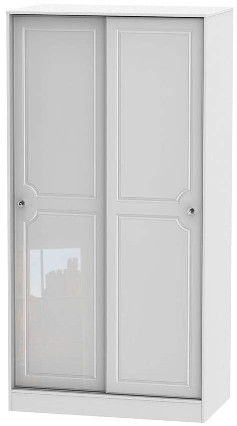 30 Inch Wide Wardrobe by Buy Balmoral High Gloss White 2 Door Wide Sliding Wardrobe