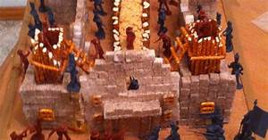 Model Of The Alamo  Used Sugar Cubes  Pretzels  Rice