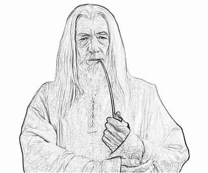 Hobbit Coloring Lord Rings Gandalf Printable Colouring