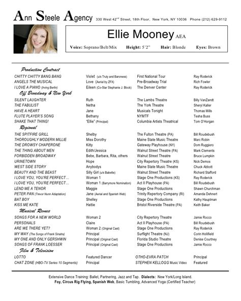 musical theatre resume template performance resume