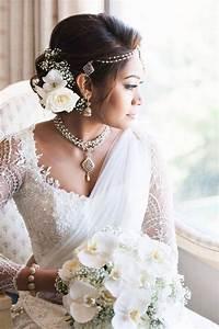 203 best Srilankan brides-white saree with low bun hair ...