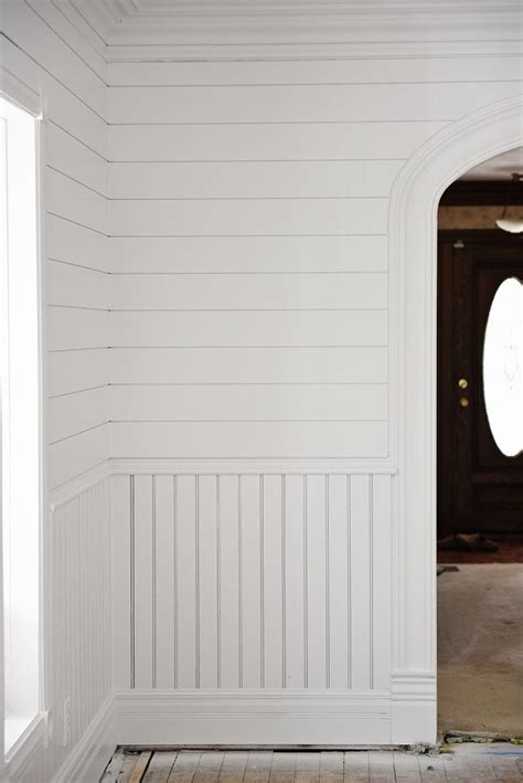 Shiplap Wainscoting by The Dining Room Is Painted Millwork Trim Dining Room