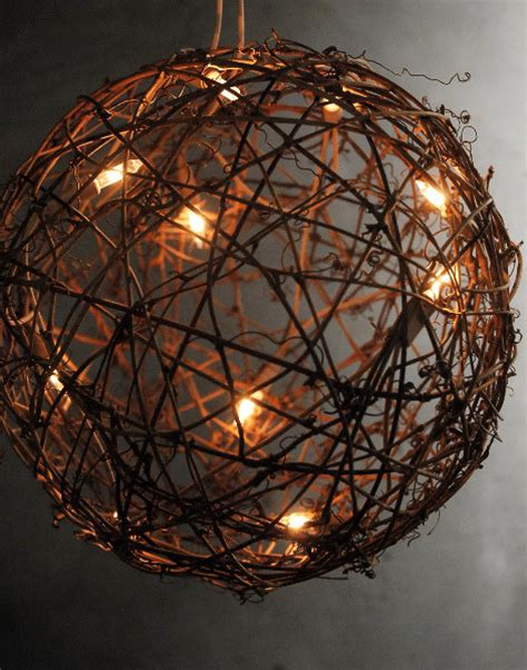 grapevine ball with string lights contemporary outdoor