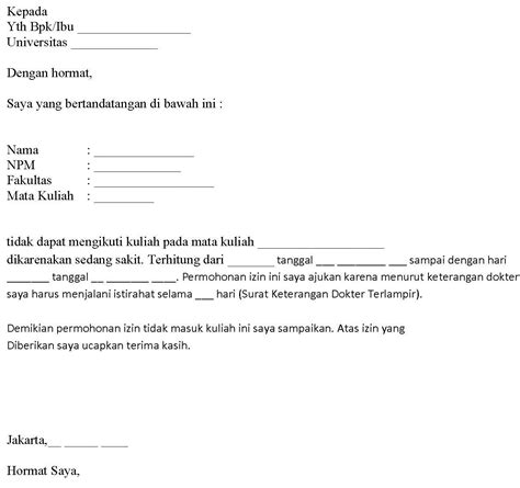 Contoh Surat Izin Tidak Masuk Sekolah Tulisan Tangan by Contoh Surat Izin Gak Masuk Kuliah Simak Gambar Berikut