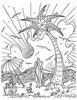 Coloring Tropical Island Drawing Pages Surf Islands Hawaiian Duncanson Megan Beach Hawaii Printable Simple Getdrawings Getcolorings Colorings Uploaded Which sketch template