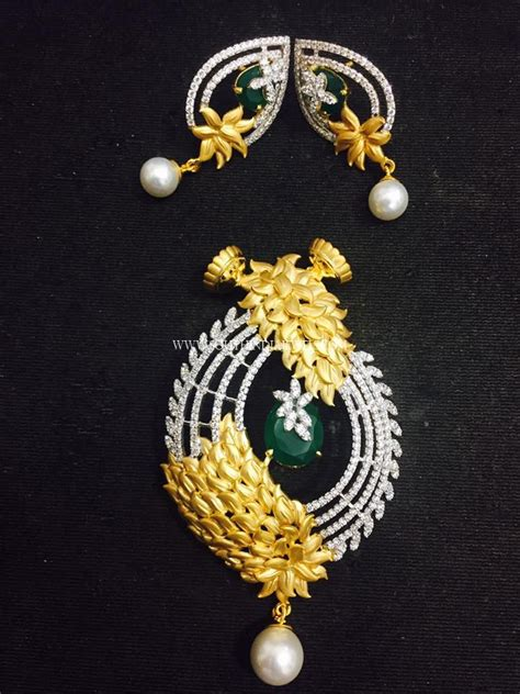 designer pendant earrings south india jewels