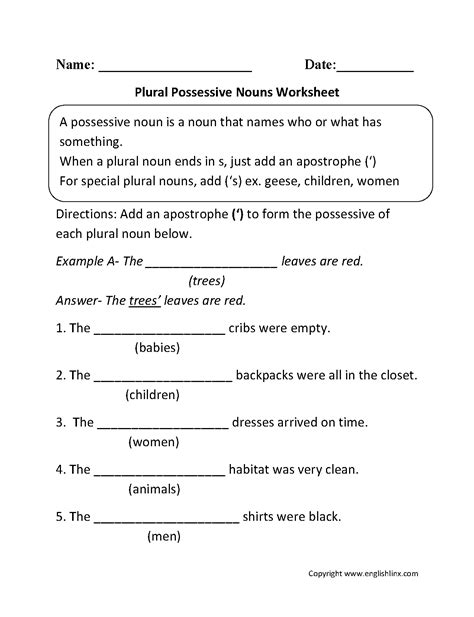 plural possessive nouns worksheets 4th grade pinte