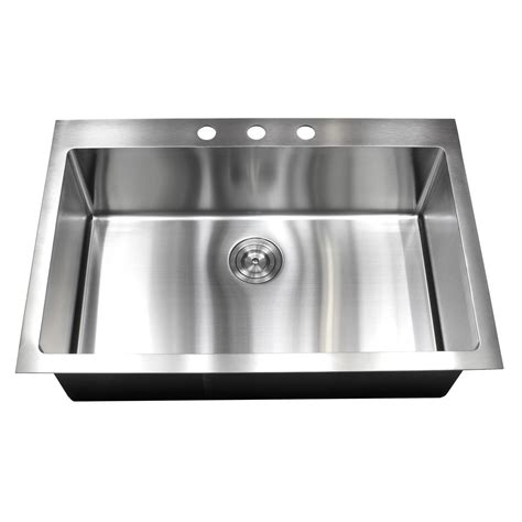 33 inch top mount drop in stainless steel single bowl kitchen sink 15mm radius design