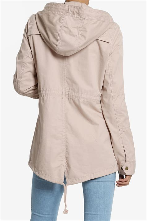 drawstring waist hooded jacket themogan drawstring waist cotton twill hooded
