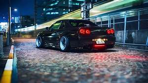 Wallpaper Nissan ER34 Skyline GT car, black, night