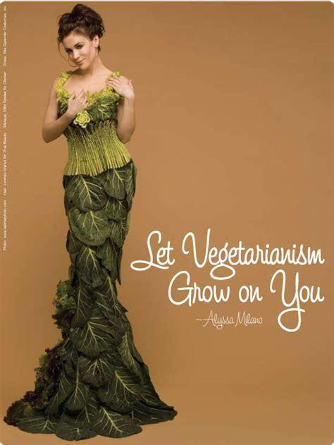 alyssa dresses in veggies for peta ecorazzi