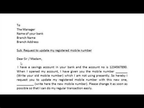 write application  bank  change mobile number