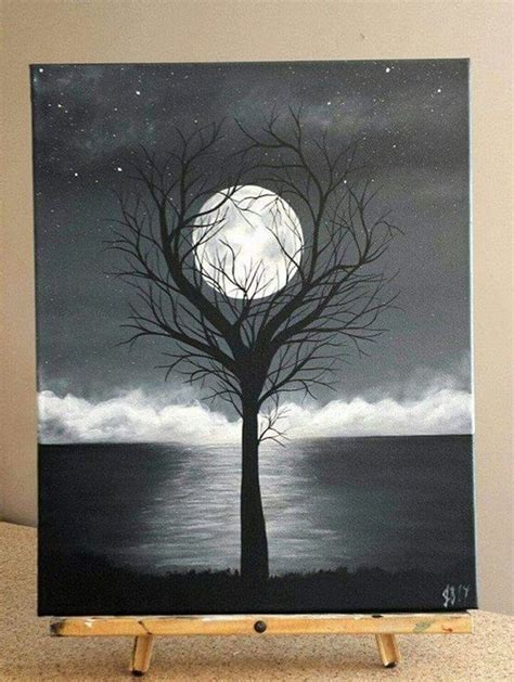 Most already come ready to paint on right out of the packaging. 40 Easy Acrylic Canvas Painting Ideas To Try - Greenorc   Black canvas paintings, Moon painting ...