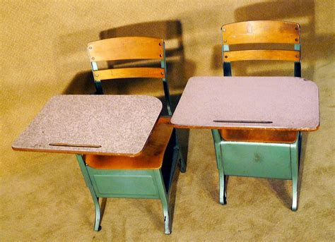 Pink & Green Wood Antique Children's School Desk X5
